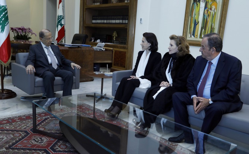 President Michel Aoun meets Hayat Wahab Arslan with family members.