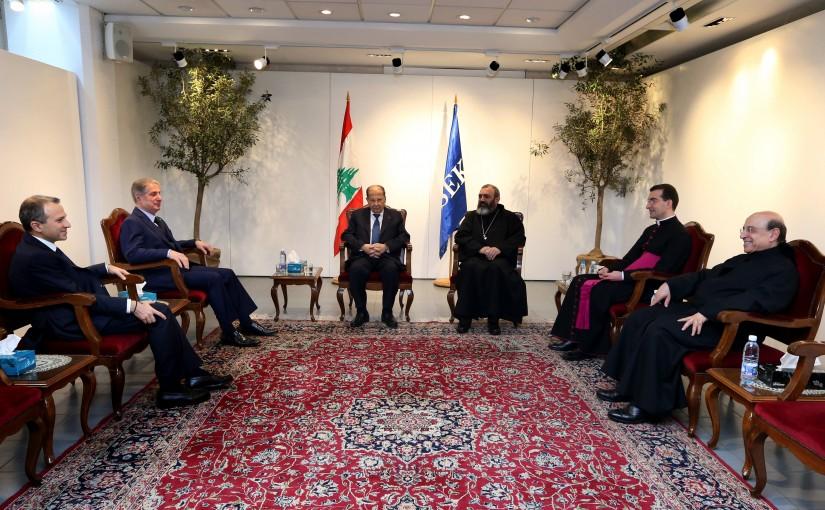 President Michel Aoun Attends The Good Friday Mass at Kaslik University.