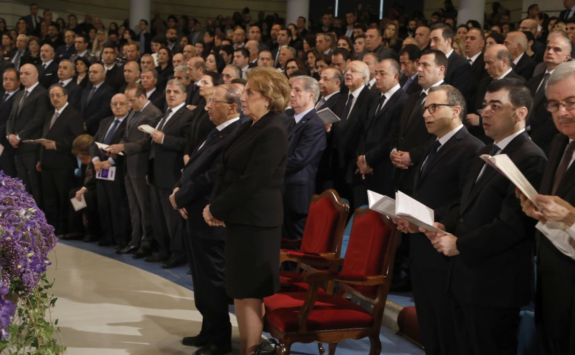 President Michel Aoun Attends The Good Friday Mass at Kaslik University.