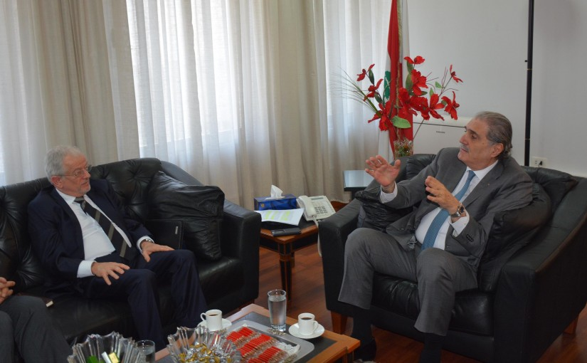 Minister Selim Jreysati Meets Head of the Middle East and North Africa office at the Geneva Center for the Democratic Control of Armed Forces, Arnold Leuthold