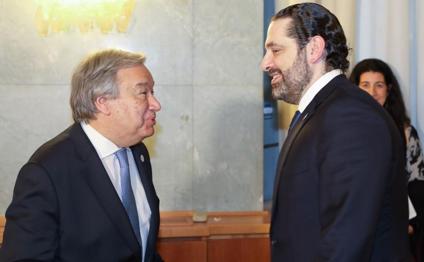 Pr Minister Saad Hariri meets  antonio guterres