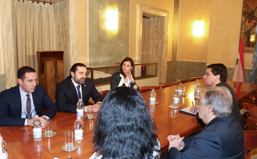 Pr Minister Saad Hariri meets Mr antonio guterres