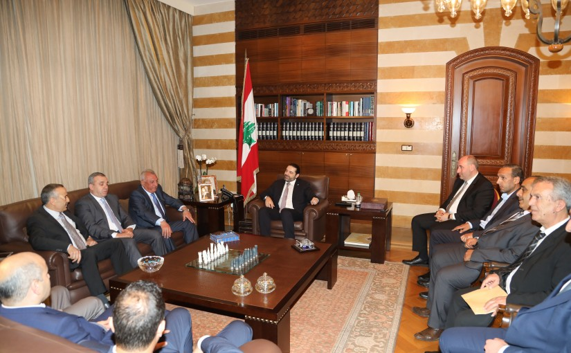 Pr Minister Saad Hariri meets Mr Ahmad Awad with a Delegation