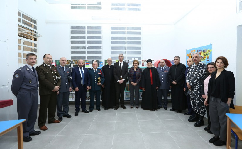 Under the patronage of Her Excellency Mrs. Nadia Aoun, Mrs. Nadia Aoun attends the opening of a library in the juvenile prison of Roumieh.