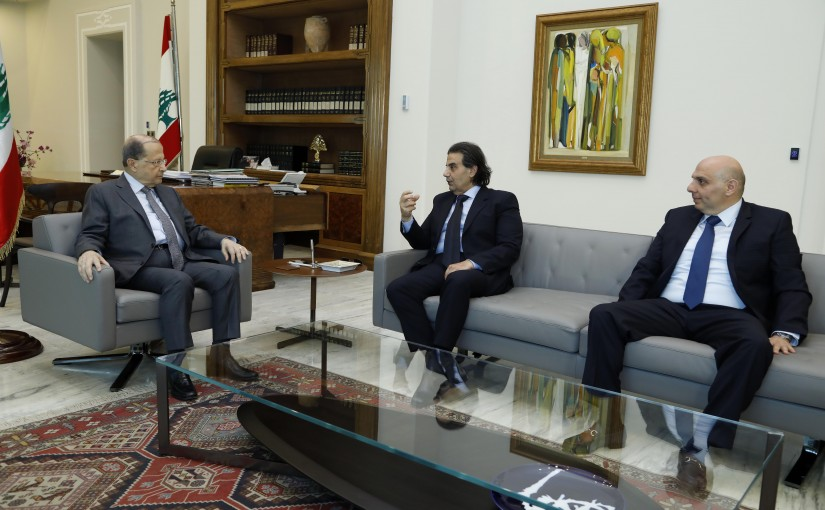 President Michel Aoun meets composer Samir Sfeir and Mr. Joe Khoury.