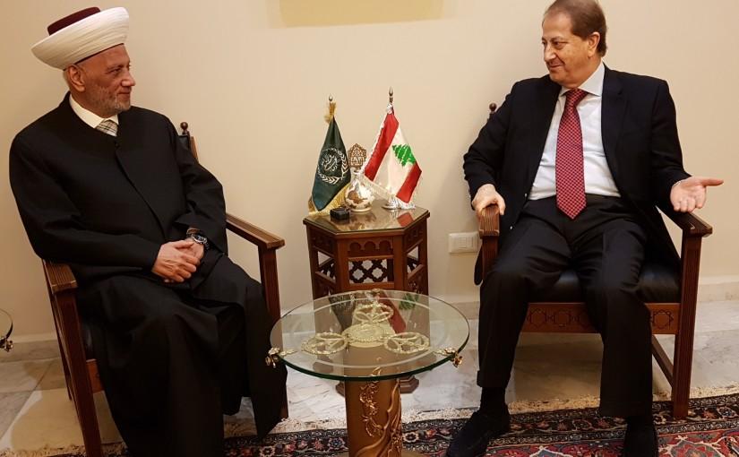 Mufti Abdel Latif Derian Meets Former MP Talal Merhebi