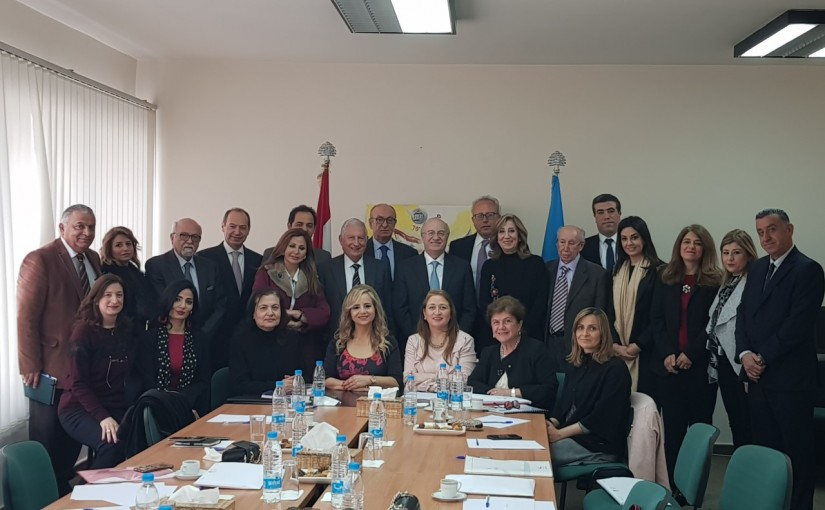 Minister Ghassan Khoury with members of the Lebanese National Committee for UNESCO