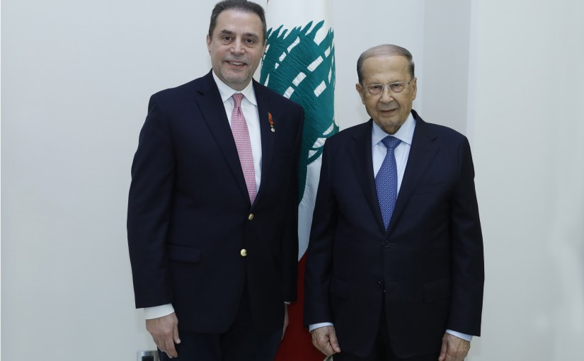 President Michel Aoun meets  the President of the Center for Hematology and Leukemia at the MD Anderson Institute in Texas, Professor Hagop Kanterjian with a delegation.