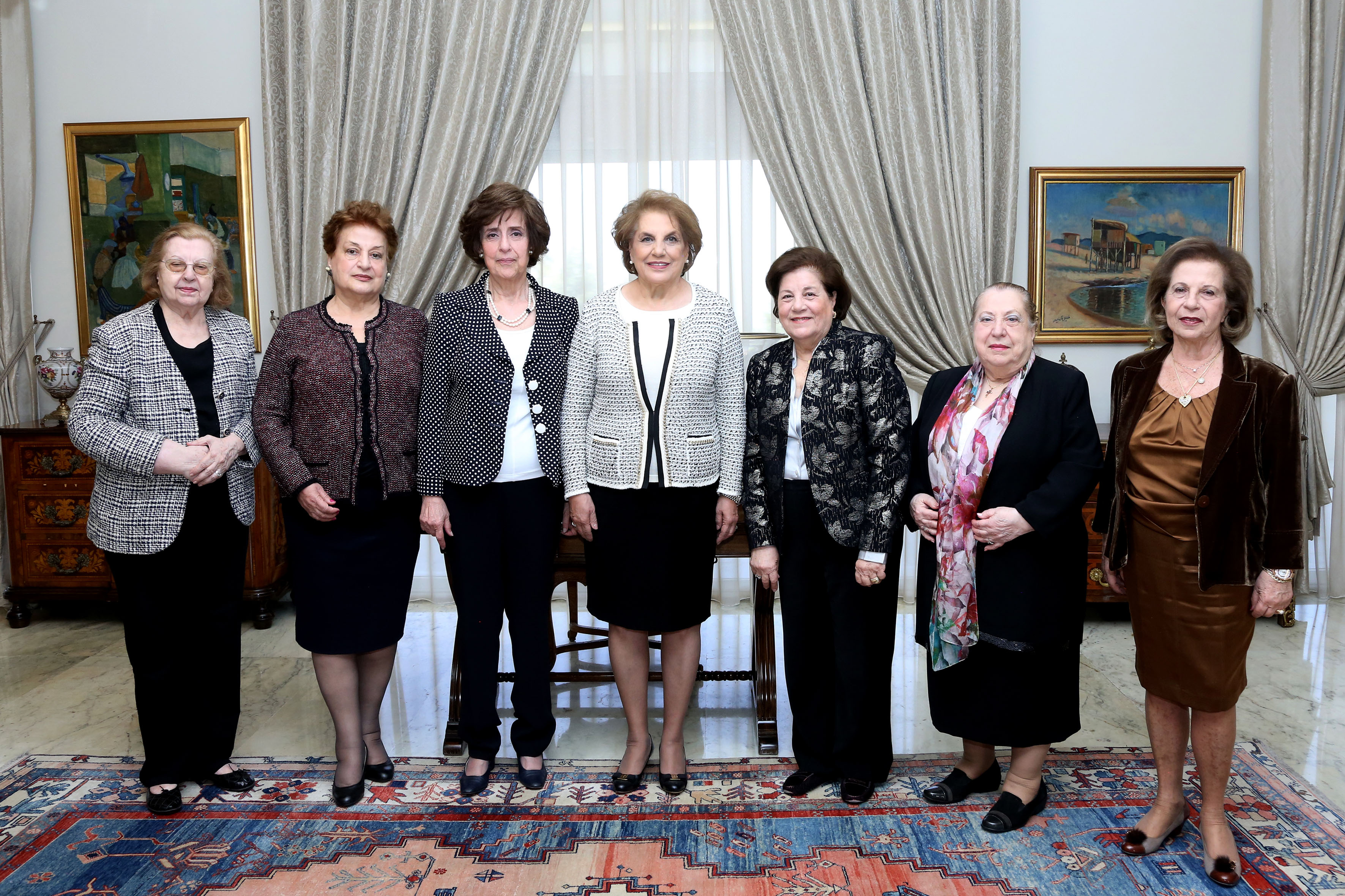 Former Minister Mona Ofeich with delegation of (Father Afif Oseiran)