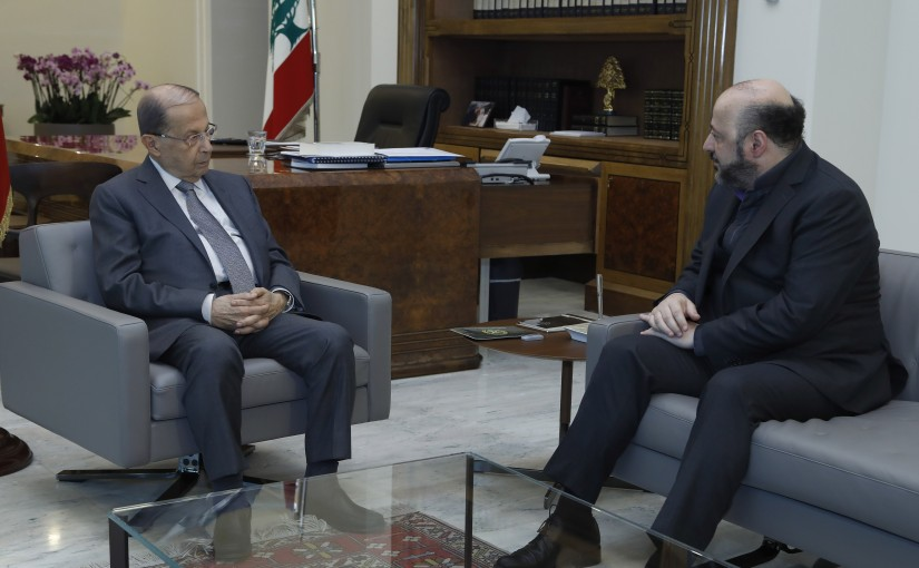 President Michel Aoun meets Minister Melhem Riachy.