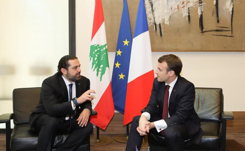 Pr Minister Saad Hariri meets French Pr Emanuel Macron