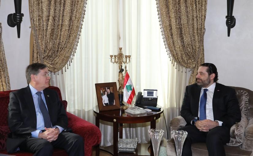 Pr Minister Saad Hariri meets Ambassador David Saterfieled