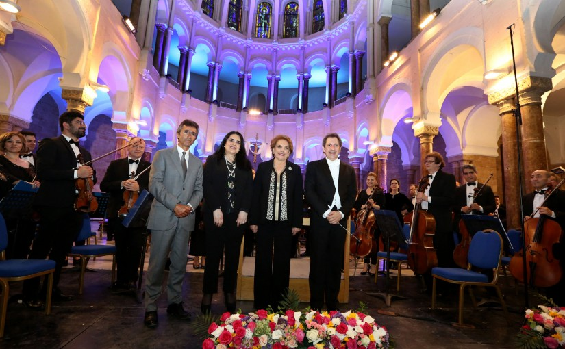 The first lady Ms.Nadia El-Chami Aoun  attends the Lebanese Philharmonic Orchestra at St Josef Church.(20 April 2018).