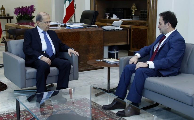 President Michel Aoun meets former minister Ziad Baroud.