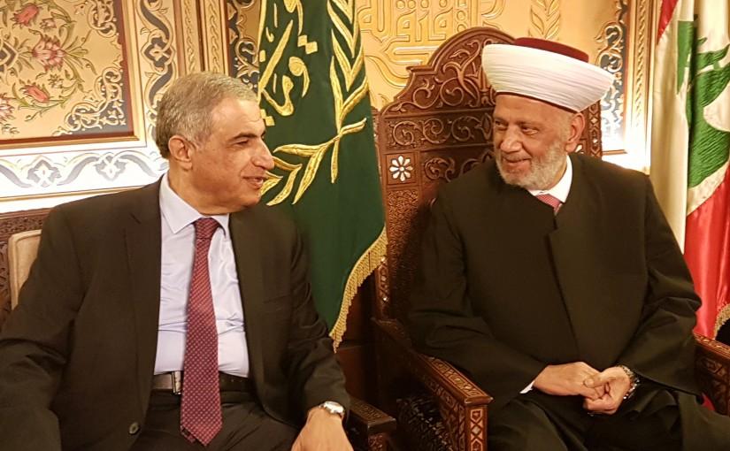 Mufti Abdel Latif Derian meets MP Kassem Hachem