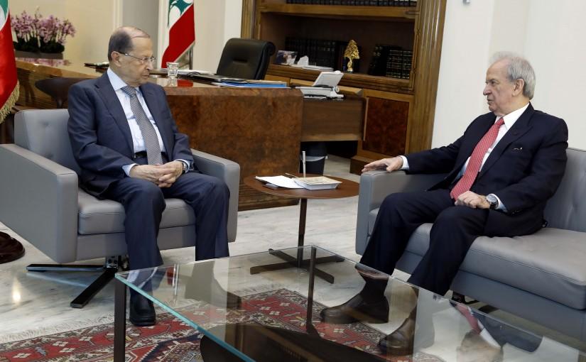President Michel Aoun meets Minister Marwan Hamadeh.