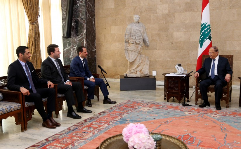 President Michel Aoun meets Kataeb party.