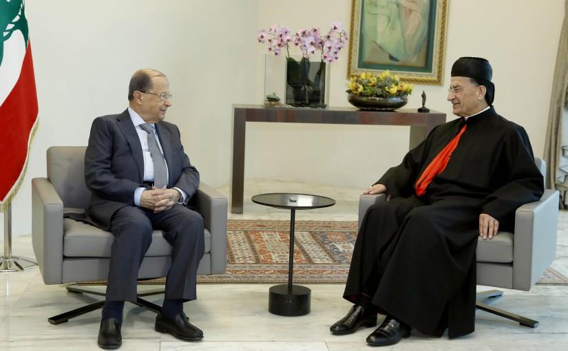 President Michel Aoun meets Patriarch Bechara Boutros Raii.