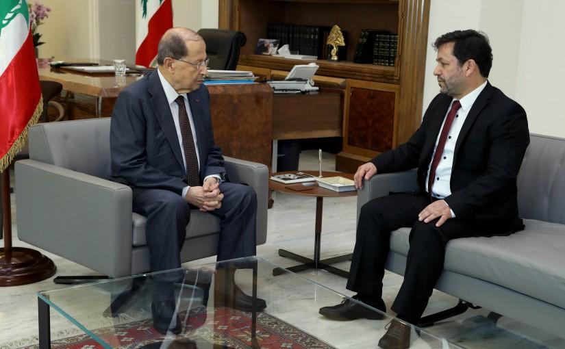 President Michel Aoun meets Director Charbel Khalil.