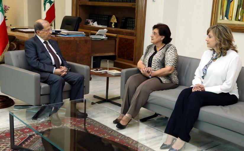 President Michel Aoun meets Dr Fadia Kiwan and Mrs. Claudine Aoun Roukoz.