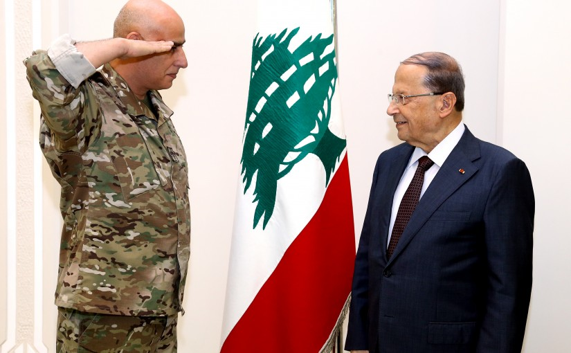 President Michel Aoun meets the Director General of the Lebanese Army Administration, General Malik Shams.