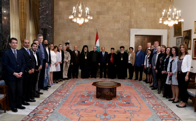 President Michel Aoun meets a delegation from the Council of Churches of the Middle East.