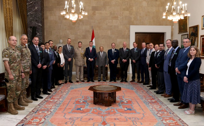 President Michel Aoun meets  Ambassador Hugo Shorter and Major General Craig Lawrence (RCDS)  with a delegation.