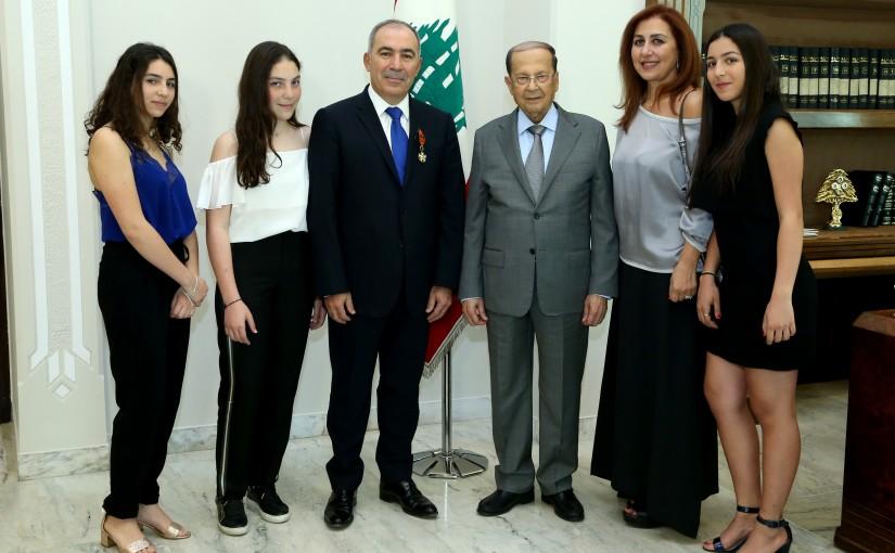 President Michel Aoun awarded the President of the Eurasian Society for Cardiac Surgery Dr. George Tadi, the National cedar Medal from the rank of office