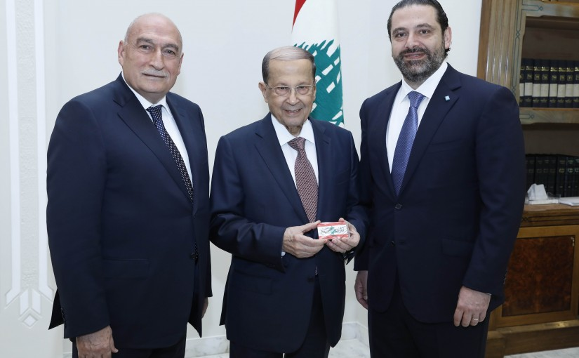 President Michel Aoun Receiving the Digital Card for the National Newspaper.