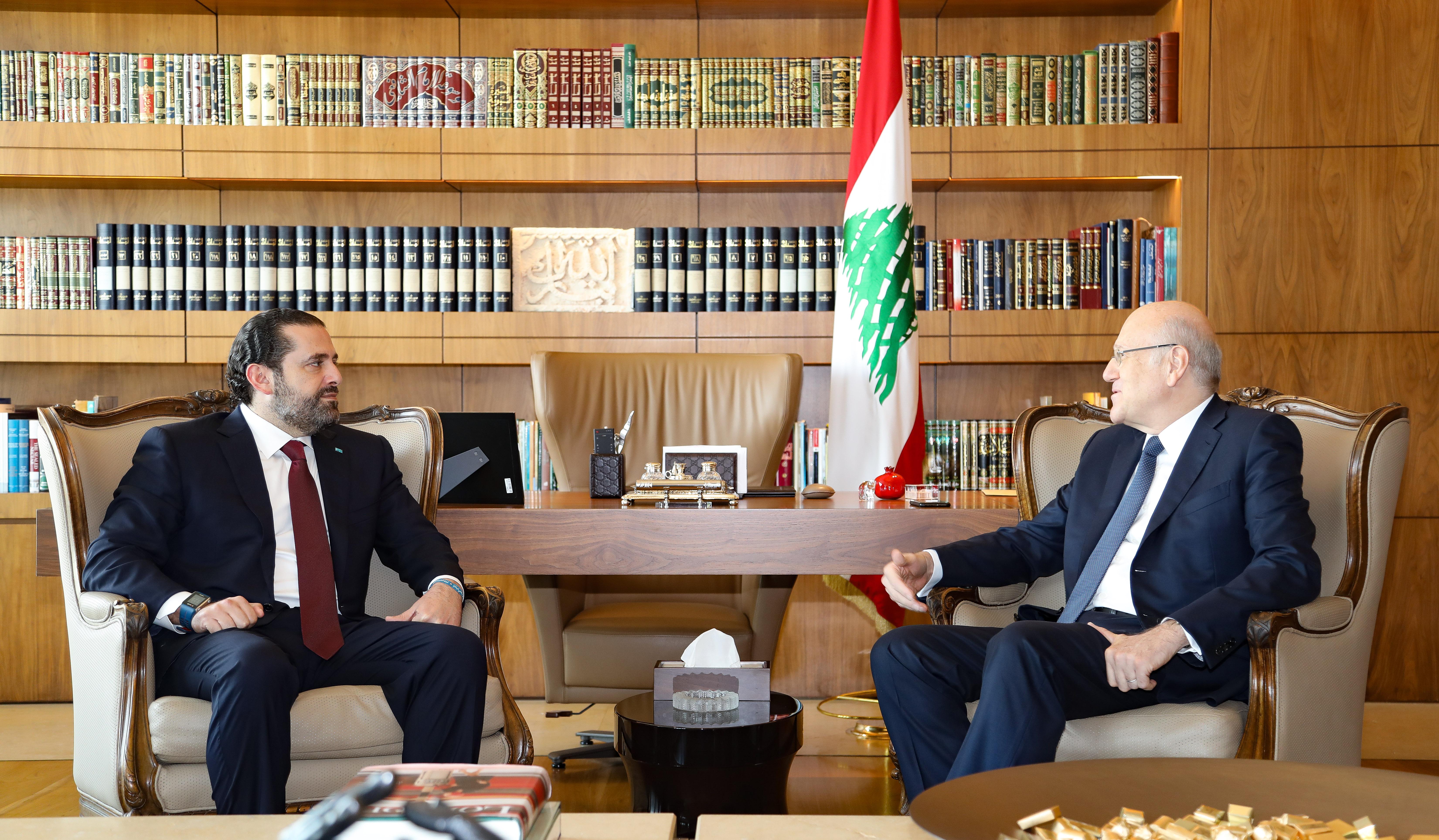 Pr Minister Najib Mikati meets Pr Minister Hariri
