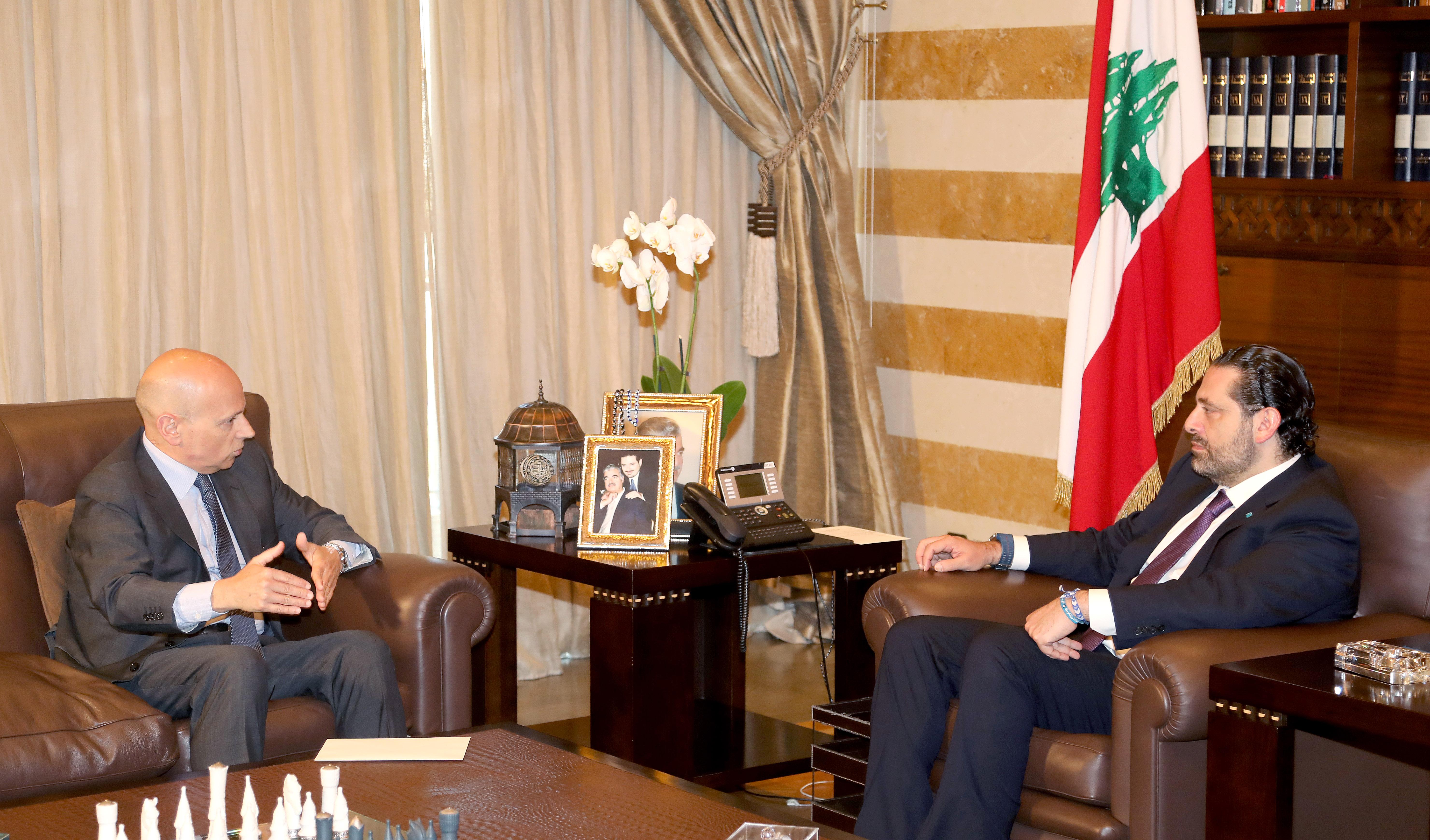 Pr Minister Saad Hariri meets Italian Ambassador(1)