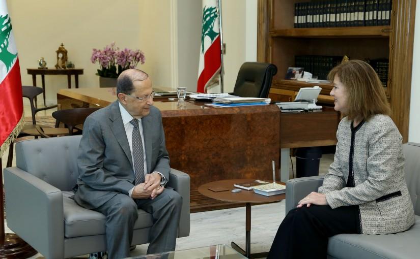 President Michel Aoun meets US Ambassador Elizabeth Richard.