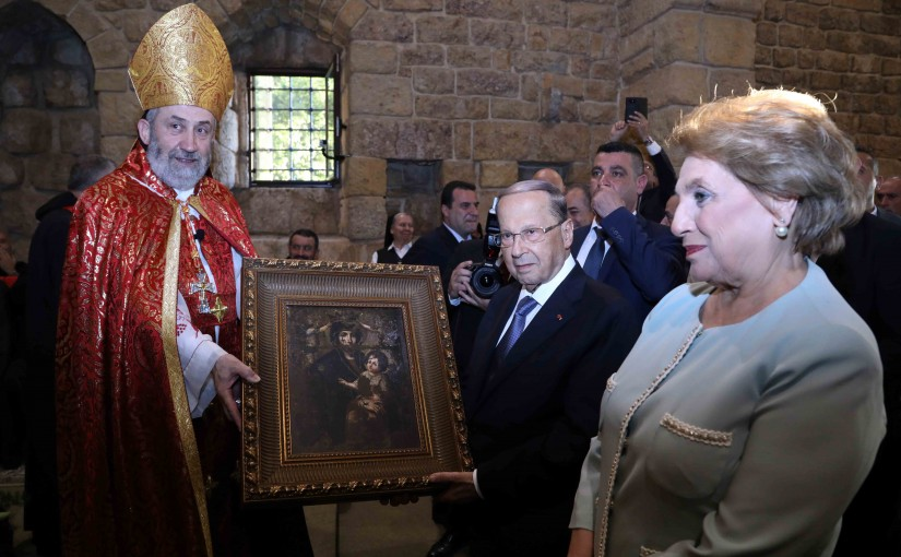 President Michel Aoun & The First Lady Nadia Aoun Attend a Service Mass at Deir El Kalaa Beit Mery