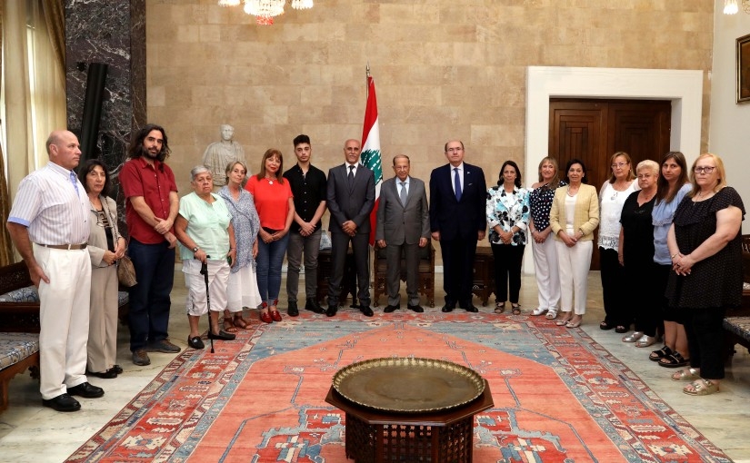 President Michel Aoun meets Mr.Nestor Hage and Ambassador Ricardo Segundo Larriera with a Delegation.