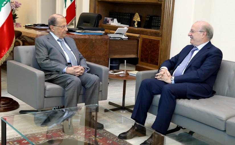 President Michel Aoun meets Minister Ghattas Khoury.