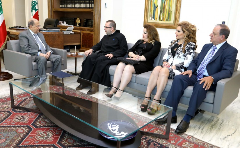 President Michel Aoun meets Father Charbel Bu Aboud.
