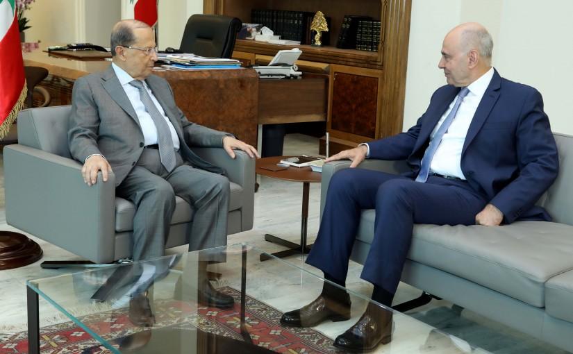 President Michel Aoun meets MP Antoine Pano.