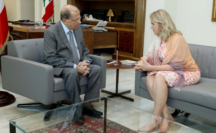 President Michel Aoun meets Ambassador Tracy Chamoun.