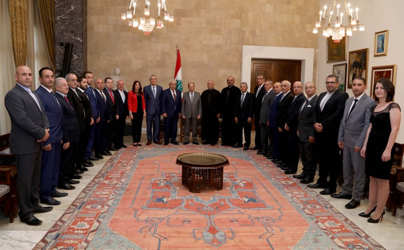 President Michel Aoun meets Municipality President Kleaa Mr Hanna Khoury with a delegation.
