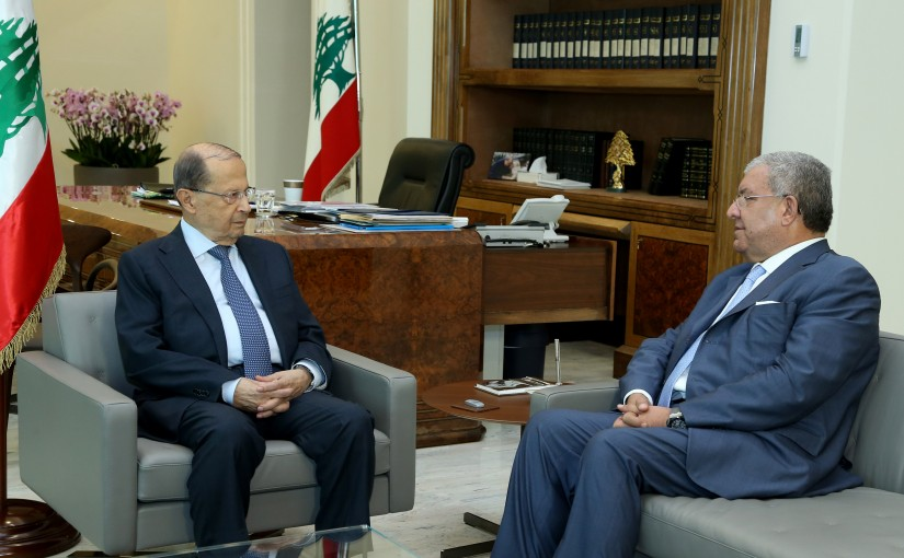 President Michel Aoun meets Minister of Interior and Municipalities Minister Nouhad Machnouk.