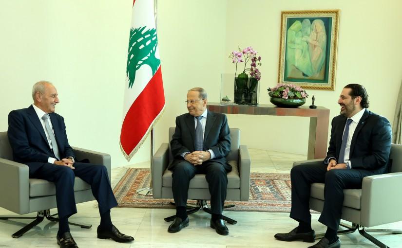 President Michel Aoun Meets House Speaker Nabih Berri & Prime  Minister Saad Hariri.