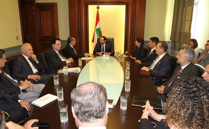 Pr Minister Saad Hariri meets a Delegation from Task Force