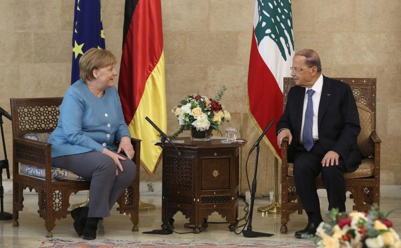 President Michel Aoun Receiving Chancellor of Germany Angela Merkel