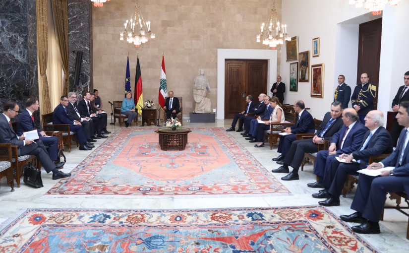 President Michel Aoun Receiving Chancellor of Germany Angela Merkel