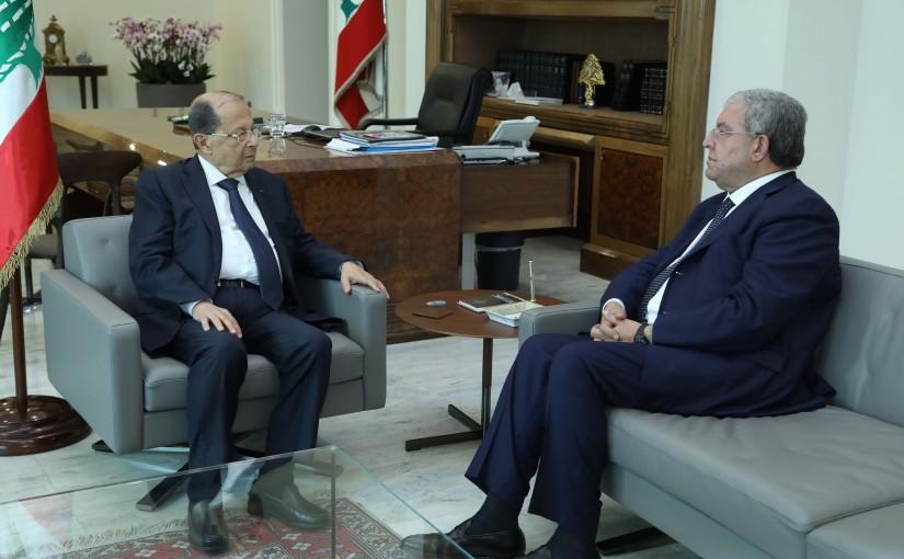 President Michel Aoun Meets Minister Nouhad El Machnouk