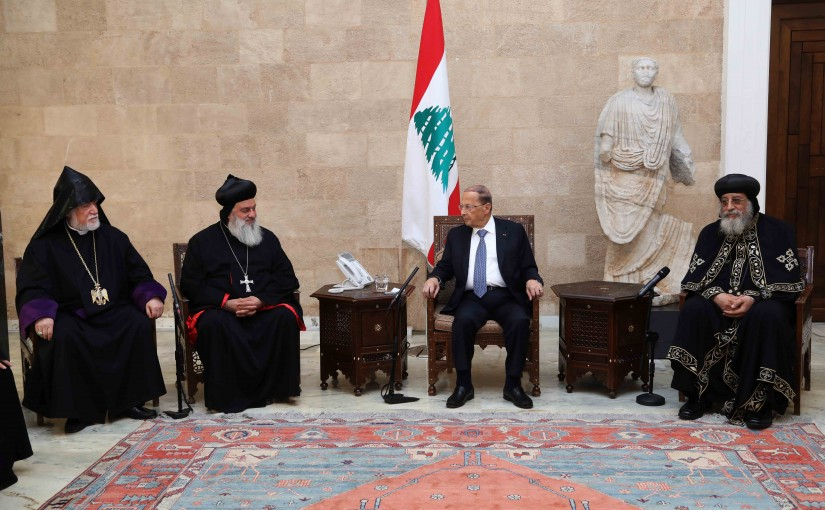 President Michel Aoun Meets Patriarch Mar Aghnatios Afram II, Catholicos Aram 1, Pope Tawadros II of Alexandria with a Delegation