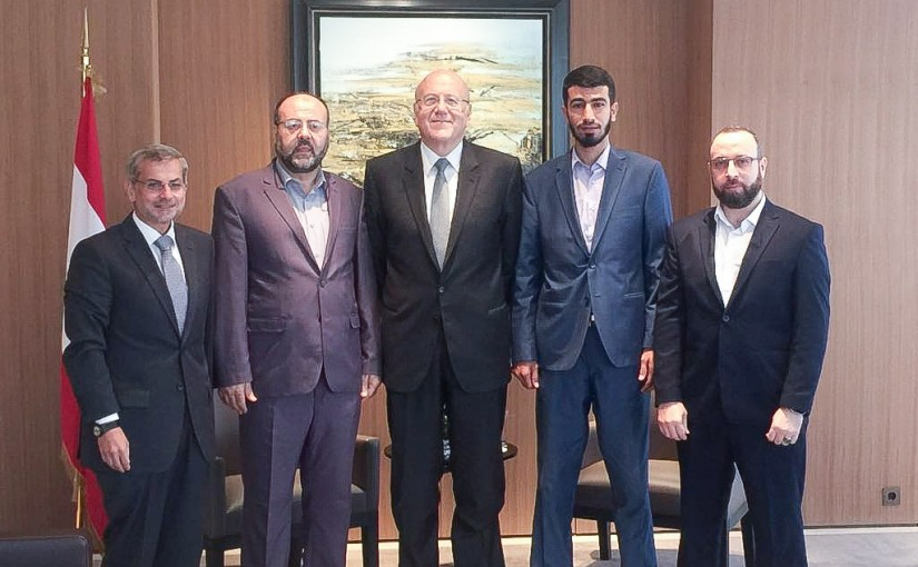 Former Pr Minister Najib Mikati meets a Delegation from Hammas Party