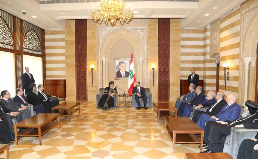 Pr Minister Saad Hariri meets Egyptian Patriarch Tawodross