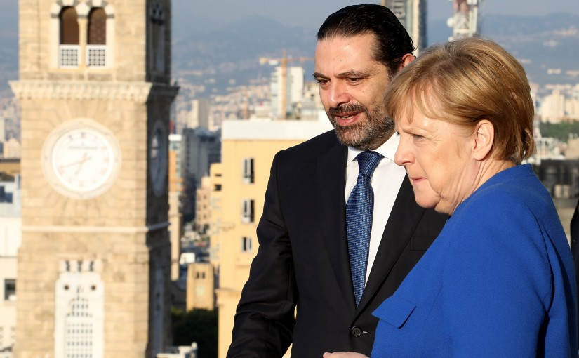 Pr Minister Saad Hariri Receiving Chancellor Angela Merkel at the Grand Serail