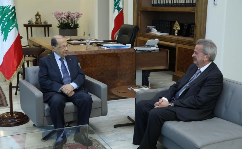 President Michel Aoun Meets Governor of Central Bank Riyad Salemeh